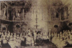 Eighteenth-century engraving of the Ball Room lit my candlelight