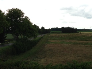 The Roman road surrounded by a wood in 1815 where artillery hid and slaughtered anyone attempting to progress along the road.